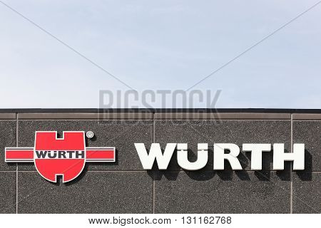 Horsens, Denmark - May 22, 2016: Wurth sign on a facade. Wurth Group is a worldwide wholesaler of power tools, chemicals and safety products
