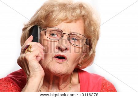 Elderly Lady On The Phone