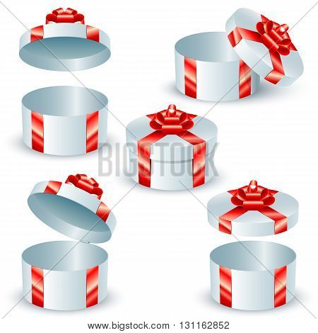 Set of round gift boxes with red satin ribbons and bows; Eps8