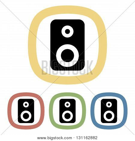 Speaker colorful icon. Set of speaker icons