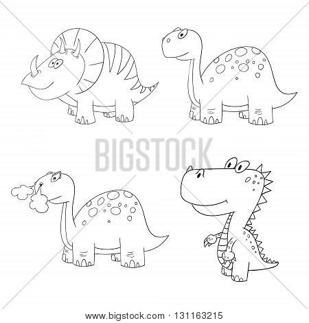 dino set icon 4 vector different contour dinosaur frame