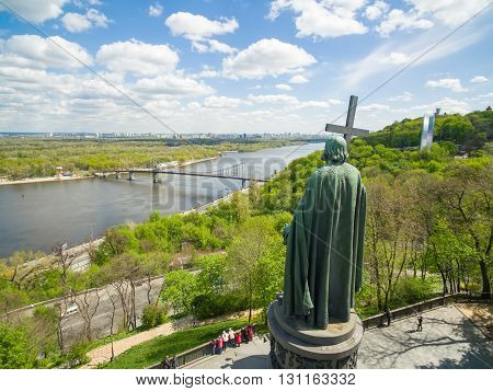 View from upper part of Vladimir's Hill to the Saint Vladimir Monument in spring, Kiev, Ukraine. Statue is a dominating feature of Dnieper river slopes and one of the city's symbols.