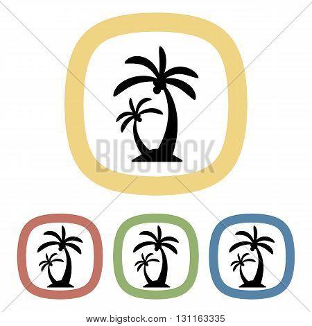 Black icon of single palm. Set of black and white icons