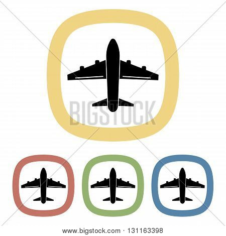 Black icon of aircraft. Set of black icons
