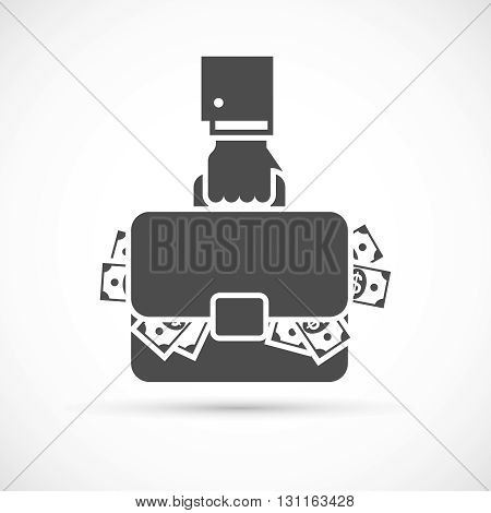 Holding briefcase with money. Businessman hand holding briefcase full of money