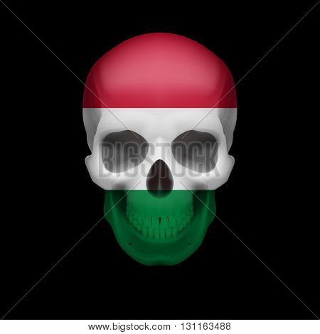 Human skull with flag of Hungary. Threat to national security war or dying out