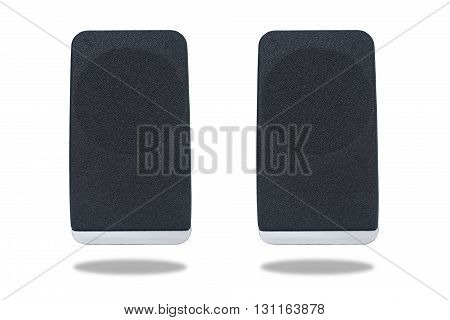 Black sound speaker isolated on white background