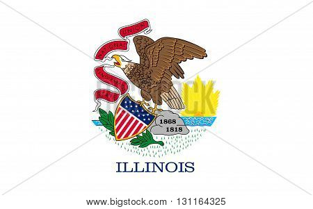 Flag of Illinois is a state in the midwestern region of the United States