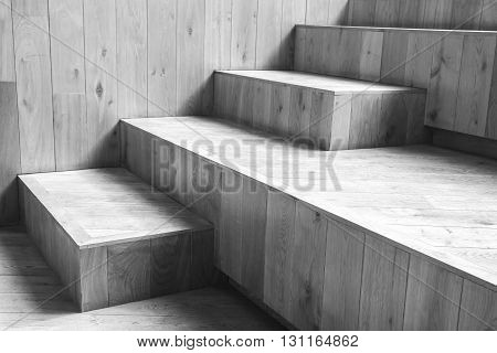 Natural Wooden Stairs. Black And White Photo