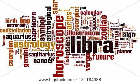 Libra word cloud concept. Vector illustration on white