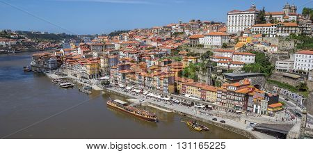 PORTO, PORTUGAL - APRIL 20, 2016: View over Porto old town from the Luis I bridge