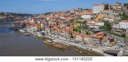 PORTO, PORTUGAL - APRIL 20, 2016: View over Porto old town from the Luis I bridge