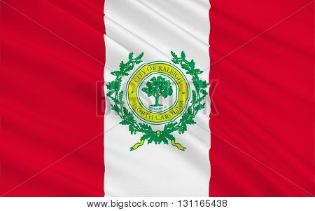 Flag of Raleigh is the capital of the state of North Carolina as well as the seat of Wake County in the United States