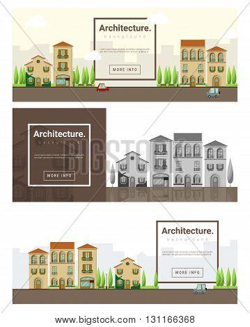 Architecture background  Cityscape banner for web design ,vector,illustration