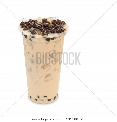 bubble ice tea milk in takeaway glass isolated on white background with clipping path