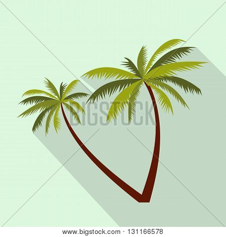 Two coconut palm trees icon in flat style on a light blue background