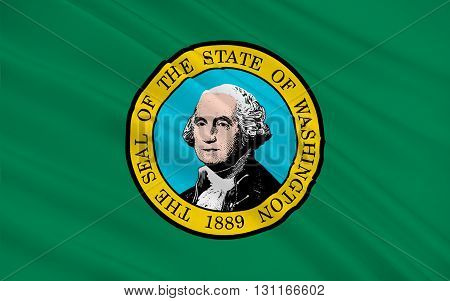 Flag of Washington is a state in the Pacific Northwest region of the United States located north of Oregon