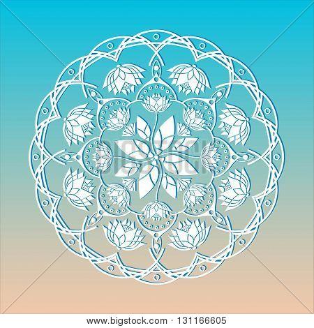 mandala decorative ornament in a circle emblem design yoga lotus flowers