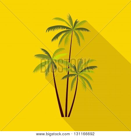 Three coconut palm trees icon in flat style on a yellow background