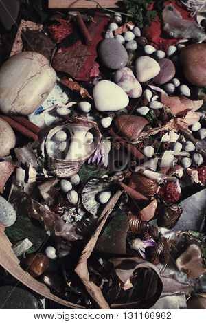 Background with multicolored stones and beads close up