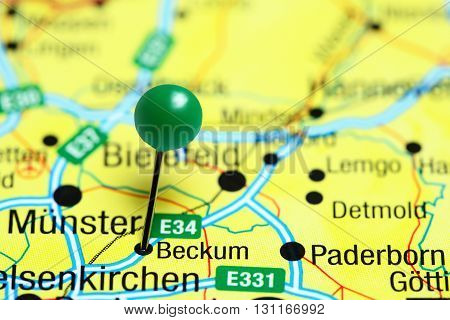 Beckum pinned on a map of Germany