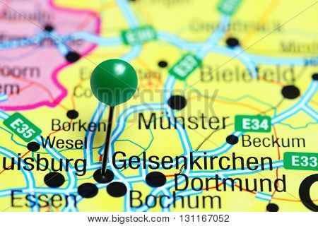 Gelsenkirchen pinned on a map of Germany