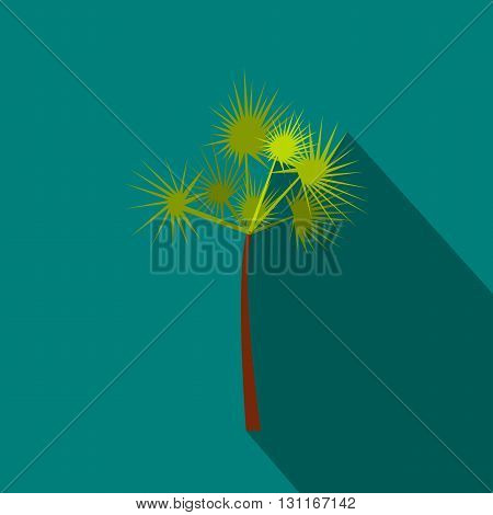 Palm tree icon in flat style on a blue background