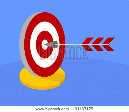 Bright target for darts. The arrow hit the target. The arrow in the center of the circle. The symbol of success and good luck. Cartoon characters icon. Flat vector illustration.