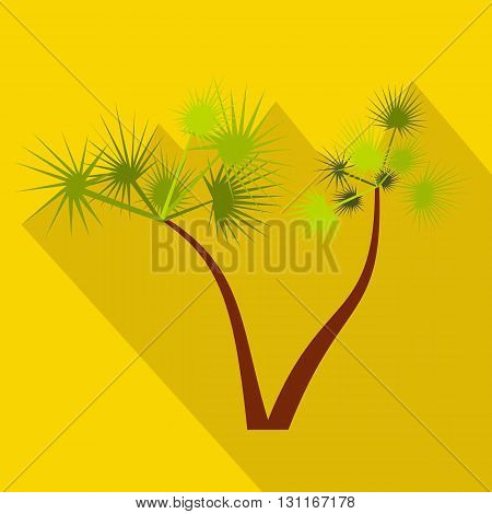 Palm trees icon in flat style on a yellow background