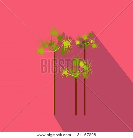 Palm trees icon in flat style on a pink background