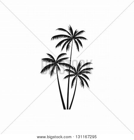 Three coconut palm trees icon in simple style on a white background
