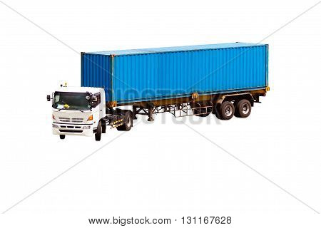 Container box on truck isolated on white background with clipping path