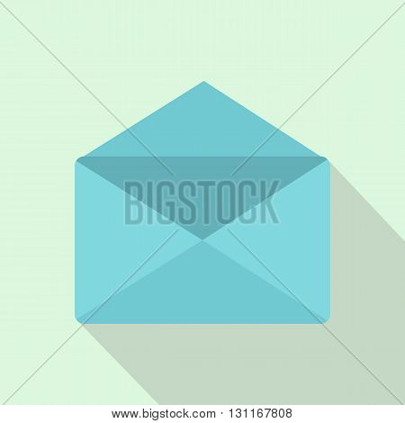 Open envelope icon in flat style on a light blue background