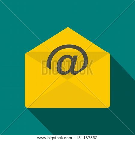 Envelope with e mail sign icon in flat style on a blue background