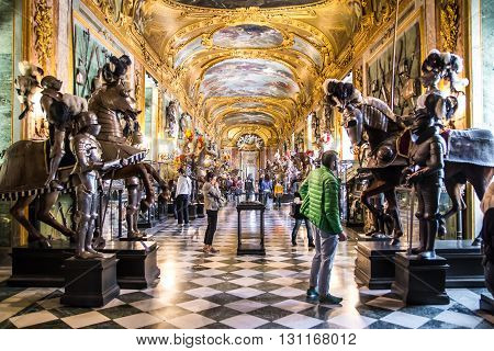 TURIN ITALY - APRIL 25 2016 - Visitors at the Royal Armoury of Turin one of the world's most important collections of arms and armour