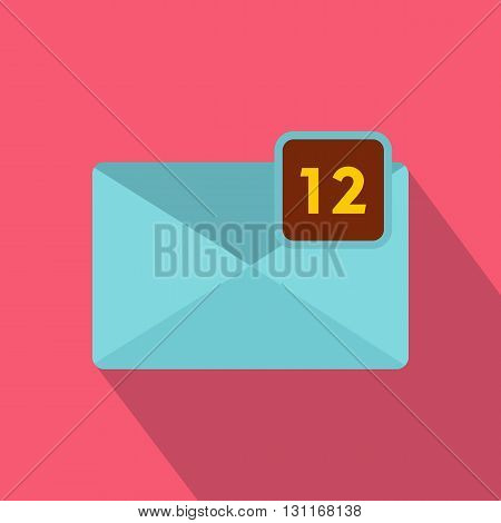 Envelope with twelve messages icon in flat style on a pink background
