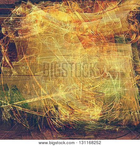Vintage torn texture or stylish grunge background with ancient design elements and different color patterns: yellow (beige); brown; green; red (orange); purple (violet); pink