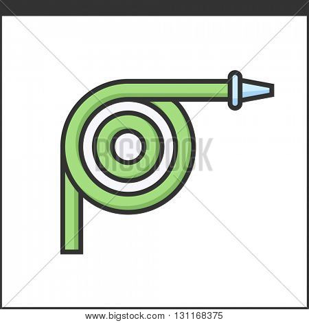 Garden hose icon. Vector illustration of hand tool for gardeners
