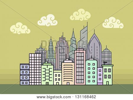 City skyline at evening. Town buildings vector illustration