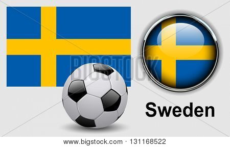 Sweden flag icons with soccer ball, vector design.