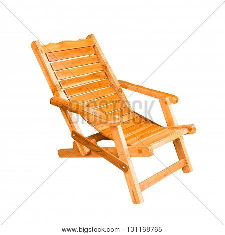 wooden deck chair in retro style isolated on white background with clipping path