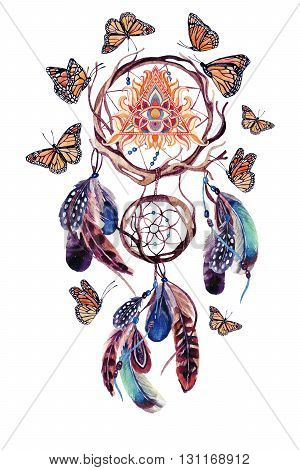 Dream catcher with feathers and all seeing eye in pyramid. Watercolor ethnic dreamcatcher and butterfly isolated on white background. Hand painted illustration for your design