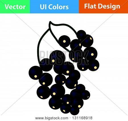 Flat Design Icon Of Black Currant
