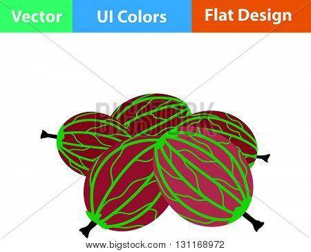 Flat Design Icon Of Gooseberry