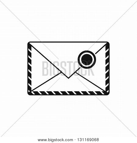 Postage envelope with stamp icon in simple style on a white background