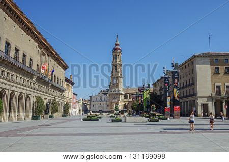 Zaragoza, Spain - May 16, 2010: La Seo del Salvador cathedral in Plaza del Pilar square in Zaragoza Spain