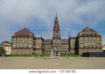Christianborg Palace Front View In Copenhagen, Denmark. Copenhagen Palace. Copenhagen Castle. Main H