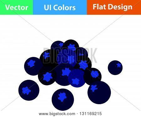 Flat Design Icon Of Blueberry