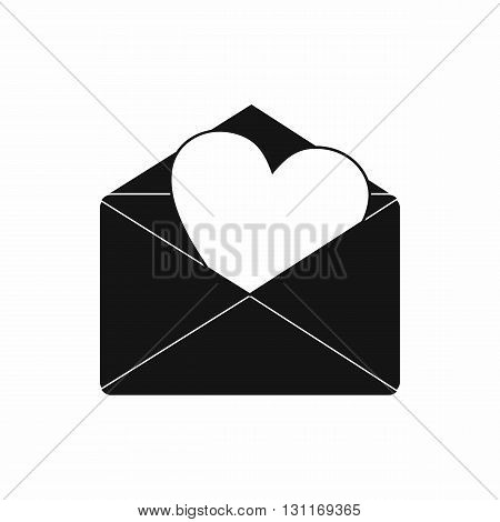 Envelope with heart icon in simple style on a white background