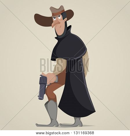 Cowboy with gun. Funny cartoon character. Vector illustration in retro style